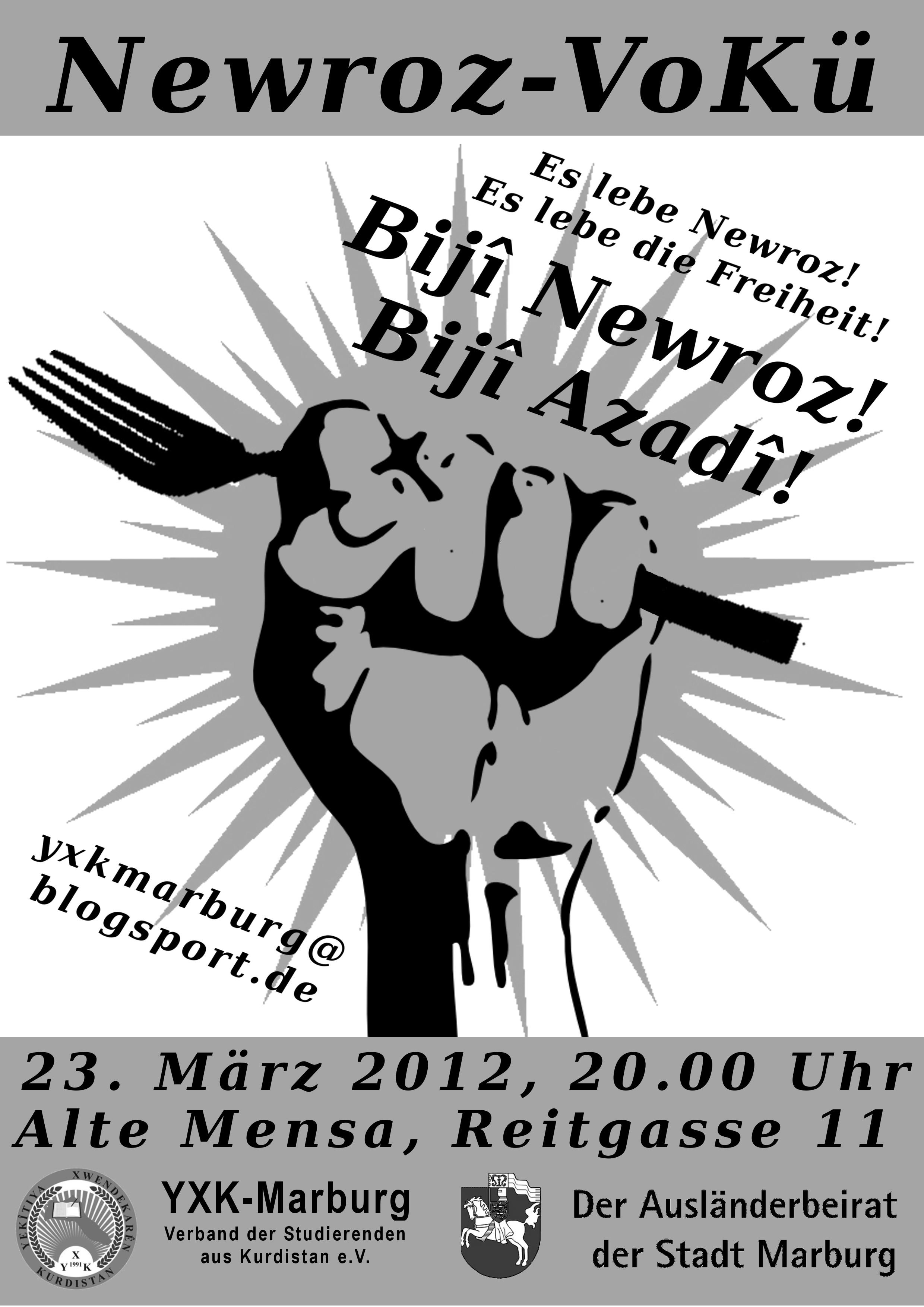 Flyer Vorderseite: Newroz VoKü 2012