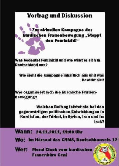 Flyer - Ji Qirkirina Jinê Re Na - Stop Feminicide